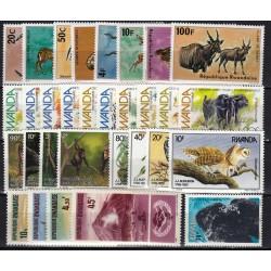 Rwanda. Fauna on stamps